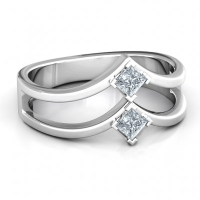 Peaks and Valleys Geometric Ring With Princess Stones  - By The Name Necklace;