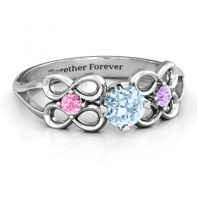 Quad Infinity Ring with Centre stone and Dual Accent Ring  - By The Name Necklace;
