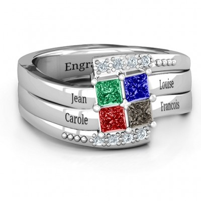 Quad Princess Stone Ring with Accents  - By The Name Necklace;