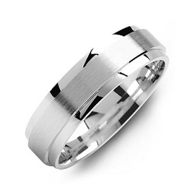 Raised Brush Centre Flat Polished Edges Men's Ring - By The Name Necklace;