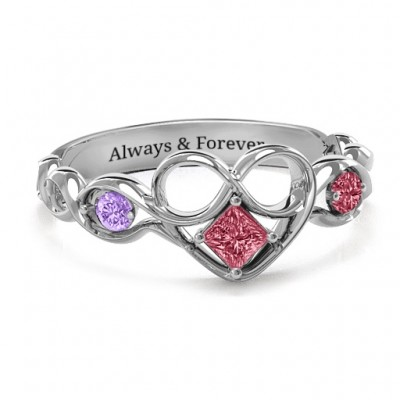 Shimmering Infinity Princess Stone Heart Ring  - By The Name Necklace;