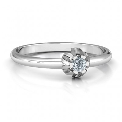 Solitaire Gemstone Ring in a Scalloped Setting  - By The Name Necklace;