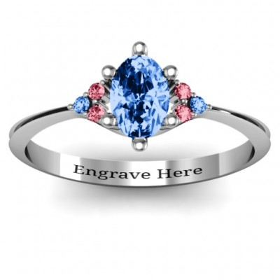 Solitaire Oval with Triple Accents Ring - By The Name Necklace;