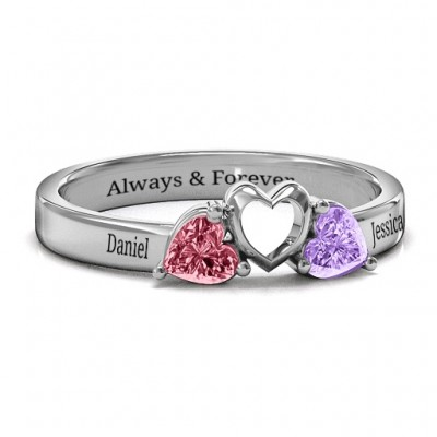 Sparkling Sweethearts Two-Stone Ring  - By The Name Necklace;