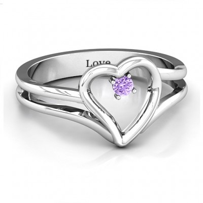 Split Shank Heart Ring - By The Name Necklace;
