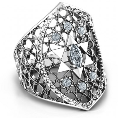 Star of David Lattice Ring - By The Name Necklace;