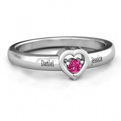 Sterling Silver  Solitaire  Heart Ring - By The Name Necklace;