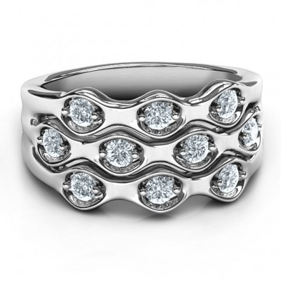 Sterling Silver 3 Tier Wave Ring - By The Name Necklace;