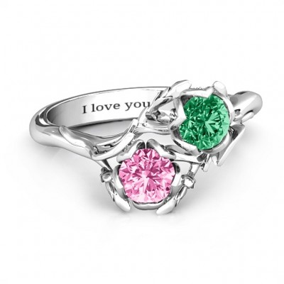 Sterling Silver Be-leaf In Love Double Gemstone Floral Ring  - By The Name Necklace;