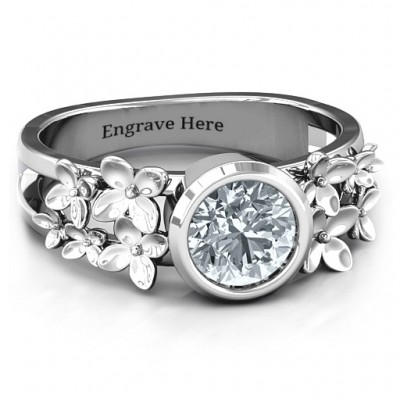 Sterling Silver Beautiful Blossoms with Split Shank Ring and Genuine Diamond Stone  - By The Name Necklace;