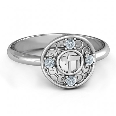 Sterling Silver Chai Filigree Ring - By The Name Necklace;