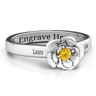Sterling Silver Flourish Rose Ring - By The Name Necklace;