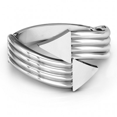 Sterling Silver Geometric Arrows and Triangles Bypass Ring - By The Name Necklace;