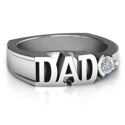Sterling Silver Greatest Dad Birthstone Men's Ring with Peridot (Simulated) Stone  - By The Name Necklace;