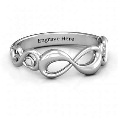 Sterling Silver Groovy Infinity Ring - By The Name Necklace;