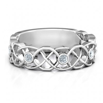 Sterling Silver Intertwined Love Band Ring - By The Name Necklace;