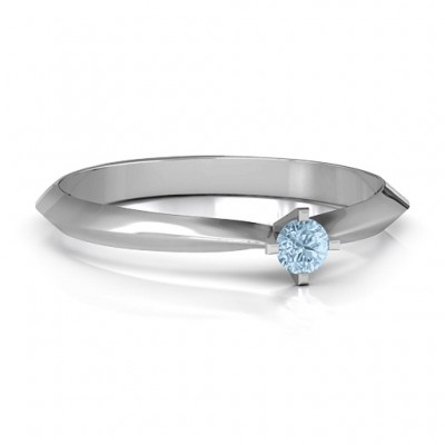 Sterling Silver Knife Edge Solitaire Ring - By The Name Necklace;