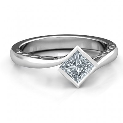 Sterling Silver Krista Princess Cut Ring - By The Name Necklace;