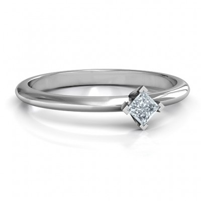 Sterling Silver L-Shaped Princess Ring - By The Name Necklace;