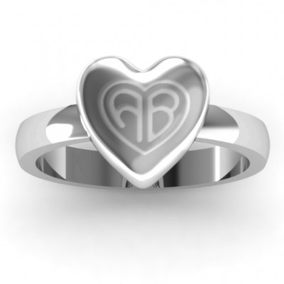 Sterling Silver Large Engraved Monogram Heart Ring With My Engraved