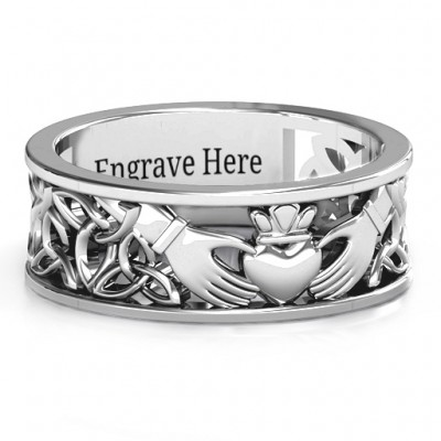 Sterling Silver Men's Celtic Claddagh Band Ring - By The Name Necklace;