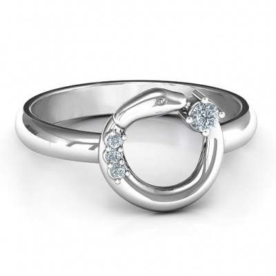 Sterling Silver Ouroboros Snake Ring - By The Name Necklace;