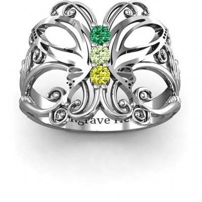 Sterling Silver Precious Butterfly Ring - By The Name Necklace;