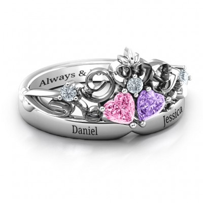 Sterling Silver Royal Romance Double Heart Tiara Ring with Engravings With My Engraved