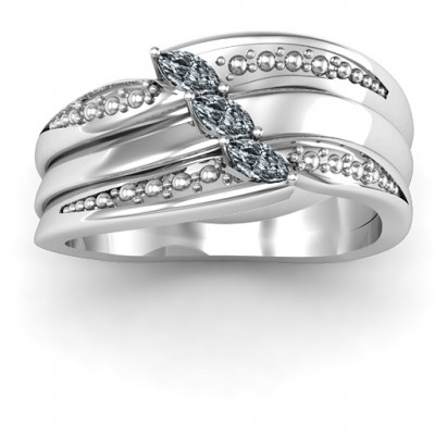 Sterling Silver Shimmering Triple-Marquise Ring - By The Name Necklace;
