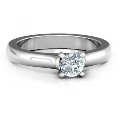 Sterling Silver Simply Solitaire Ring - By The Name Necklace;