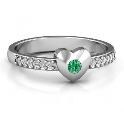 Sterling Silver Solid Heart with Micro Pave Accents Ring - By The Name Necklace;
