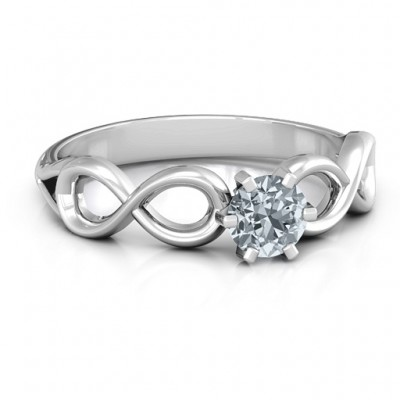 Sterling Silver Solitaire Infinity Ring - By The Name Necklace;