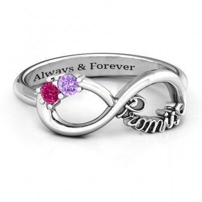 Sterling Silver Two Stone Promise Infinity Ring  - By The Name Necklace;