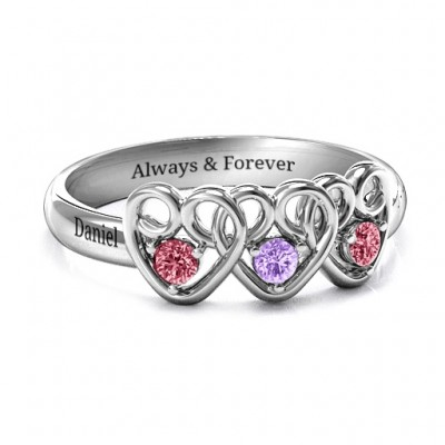 Three's Company Triple Heart Gemstone Ring  - By The Name Necklace;