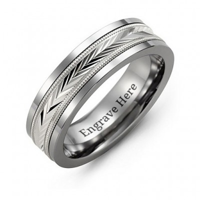 Tungsten Men's Tungsten Diamond Cut Inlay Band Ring - By The Name Necklace;