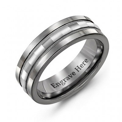 Tungsten Men's Tungsten Grooved Centre Band Ring - By The Name Necklace;