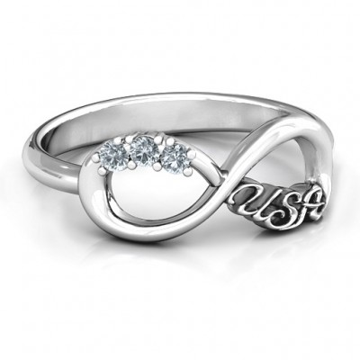 USA Infinity Ring - By The Name Necklace;