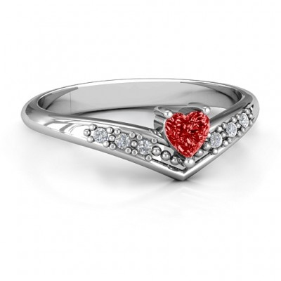 V-Accented Heart Ring - By The Name Necklace;