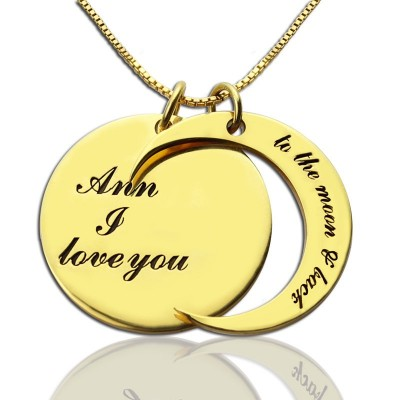 I Love You to The Moon and Back Love Necklace 18ct Gold Plated - By The Name Necklace;