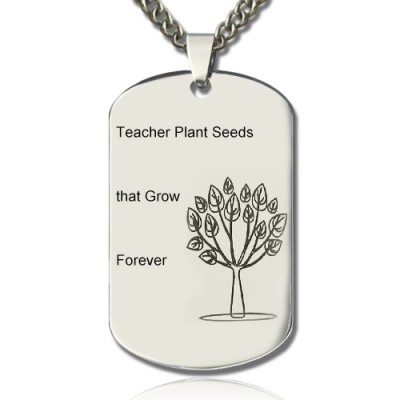 Man's Dog Tag Tree Name Necklace - By The Name Necklace;