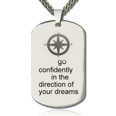 Compass Man's Dog Tag Name Necklace - By The Name Necklace;