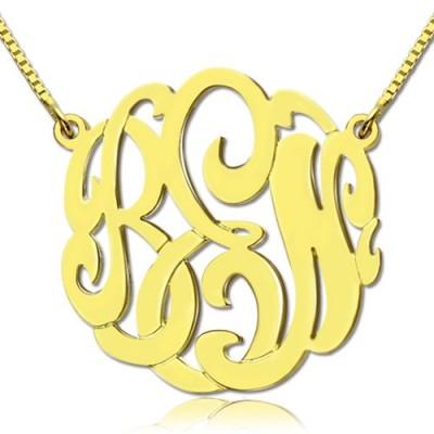 18ct Gold Plated Large Monogram Necklace Hand-painted - By The Name Necklace;
