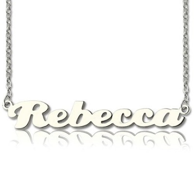 Personalised Sterling Silver Puff Font Namplate Necklace - By The Name Necklace;