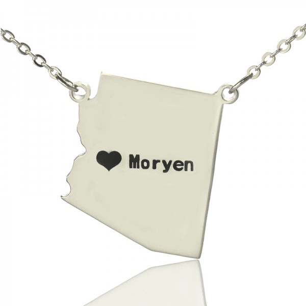 Custom Arizona State Shaped Necklaces With Heart  Name Silver - By The Name Necklace;