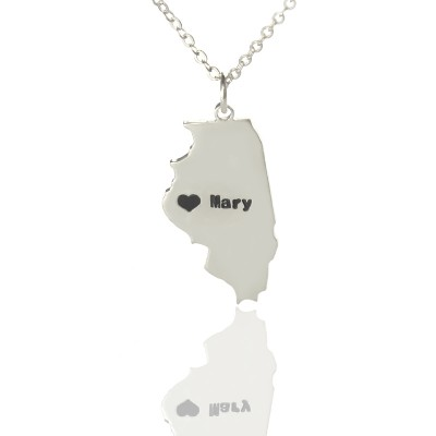 Personalised Illinois State Shaped Necklaces With Heart  Name Silver - By The Name Necklace;
