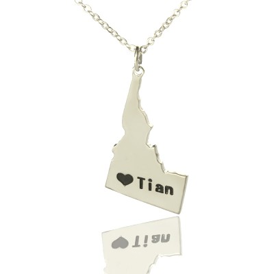 The Idaho State USA Map Necklace With Heart  Name Silver - By The Name Necklace;