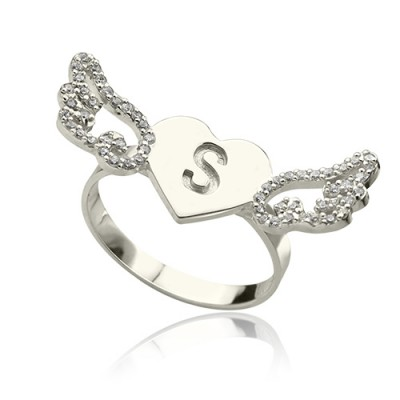 Heart Angel Wings Ring Engraved Initial  Birthstone Sterling Silver  With My Engraved