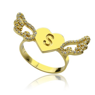 Angel Wings Heart Ring with Birthstone  Initial 18ct Gold Plated  - By The Name Necklace;