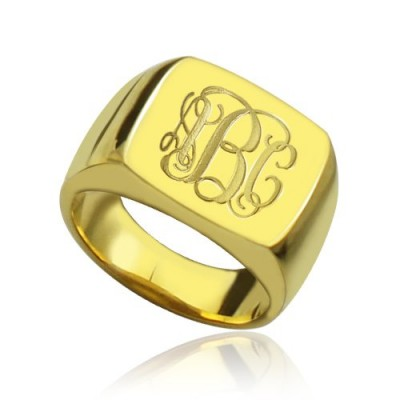 18ct Gold Plated Fashion Monogram Initial Ring - By The Name Necklace;