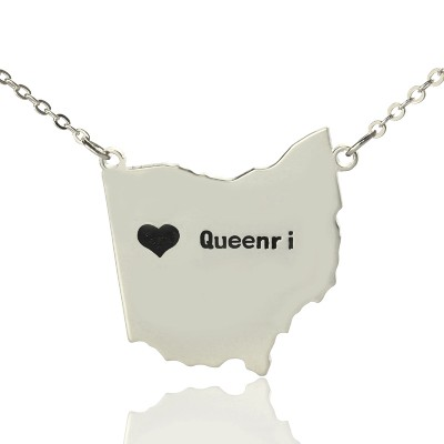 Custom Ohio State USA Map Necklace With Heart  Name Silver - By The Name Necklace;